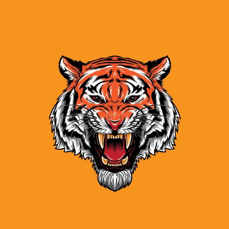 Gniewny Tygrysi twarzy huczenie royalty ilustracja