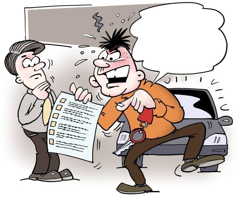 Gniewny właściciel samochodu wskazuje przy listą kontrolną royalty ilustracja