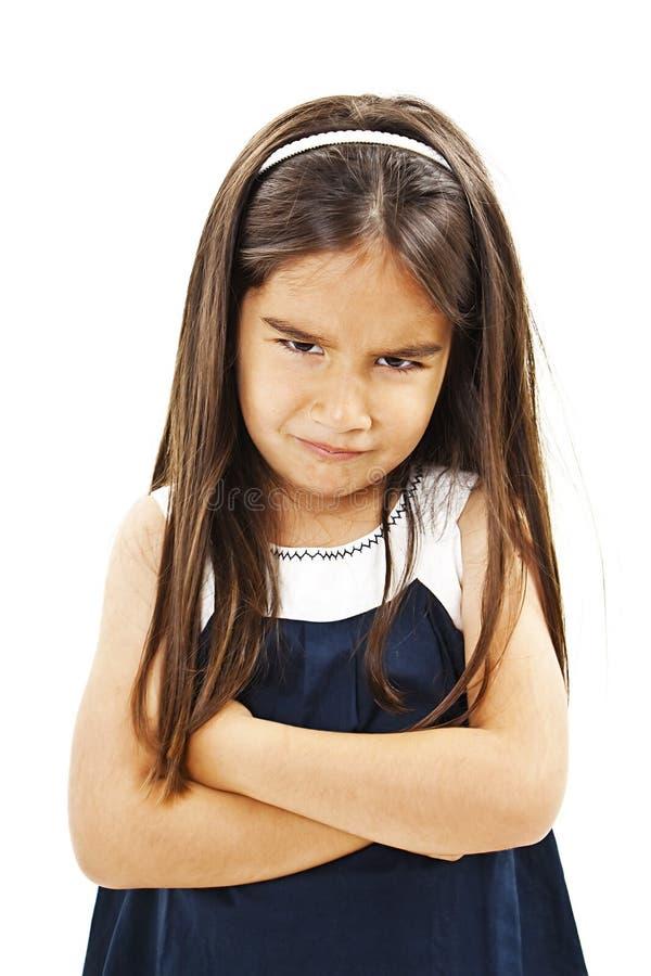 Gniewny whit składająca małej dziewczynki ręka zdjęcia stock