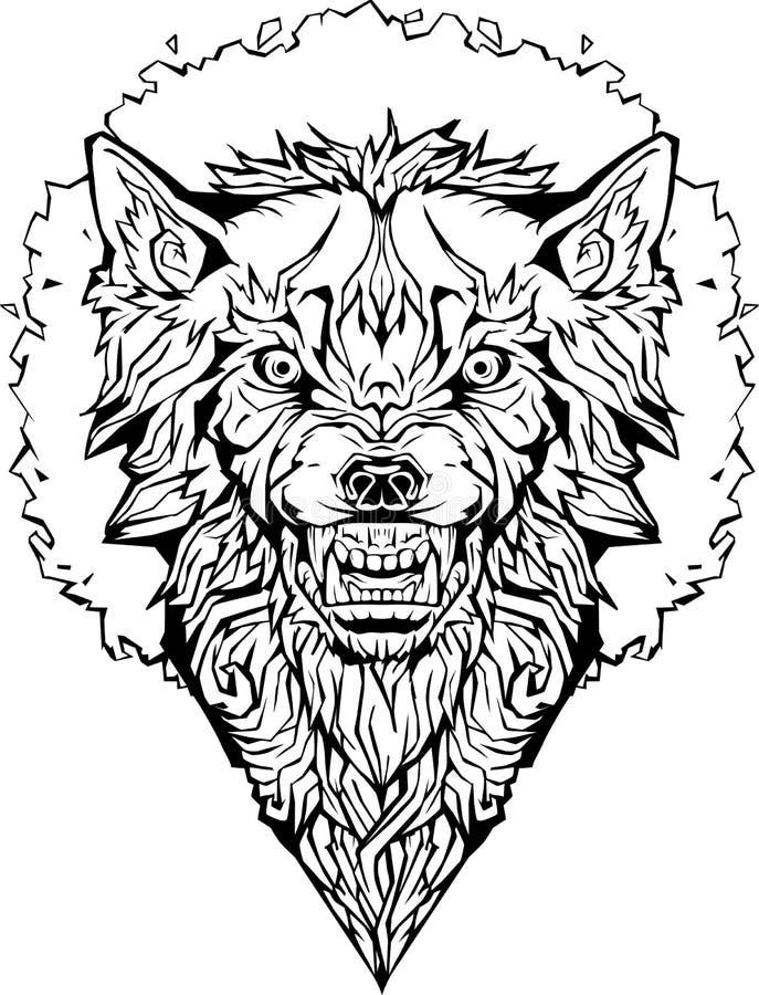 Gniewny wilk w ramie odosobniony Barwić stronę royalty ilustracja