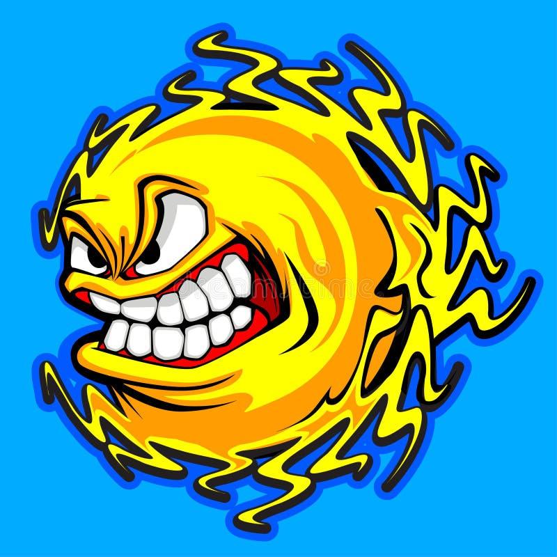 gniewny wizerunku słońca wektor