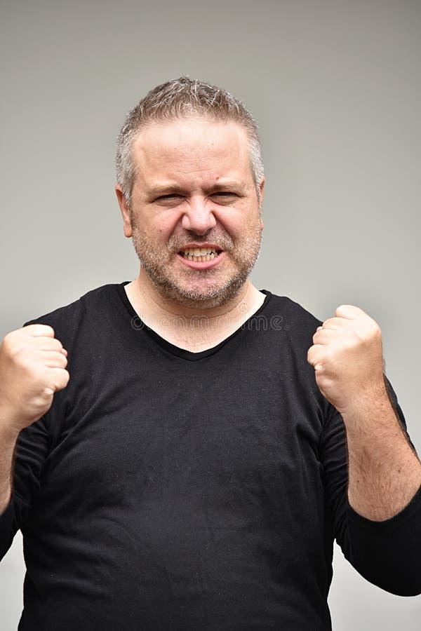 Gniewny Z nadwagą Męski mężczyzna fotografia royalty free