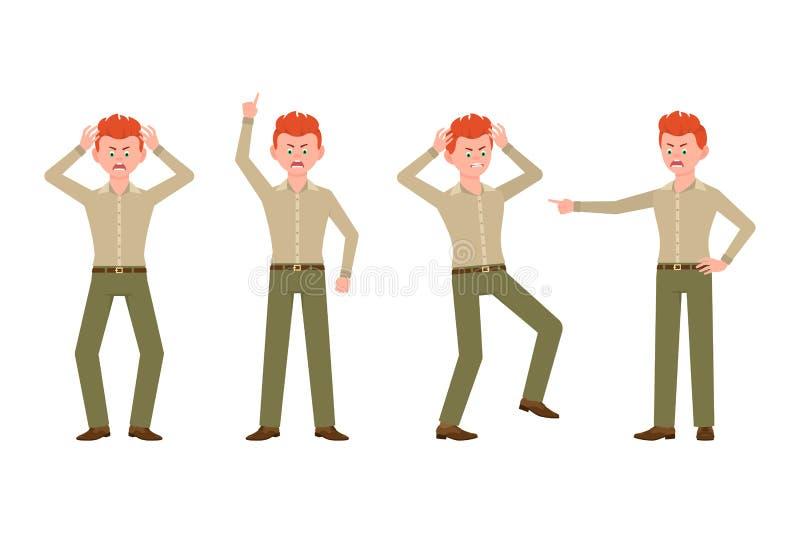 Gniewny, zaakcentowany, desperacki czerwony włosiany młody człowiek w zieleni, dyszy wektorową ilustrację Krzyczący, wskazujący p ilustracja wektor
