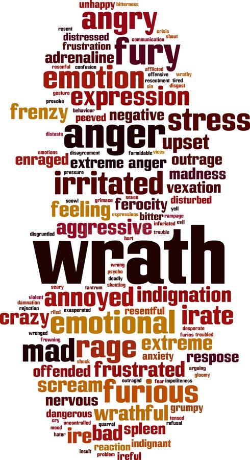 Gniewu słowa chmura ilustracji