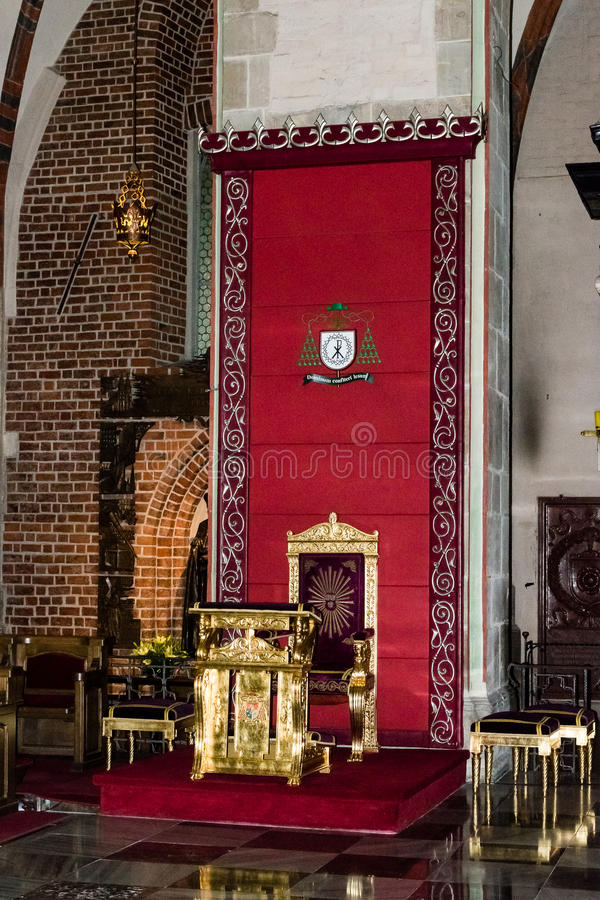 Gniezno Cathedral Bishop Chair. POLAND, GNIEZNO - 29 JUNE 2015: Gniezno Cathedral Bishop Chair royalty free stock photos