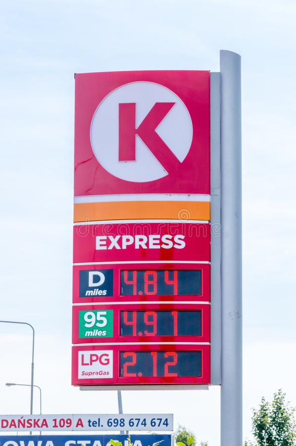 Price is per liter in Polish Zloty at Circle K Express gas station. Gniezno, Poland - August 19, 2018: Price is per liter in Polish Zloty at Circle K Express stock photography