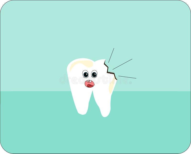 Gnijący niezdrowy ząb z twarzą ilustracji