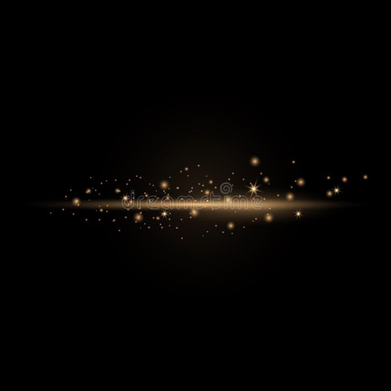 Gnistor av damm och guld- stjärnor royaltyfri illustrationer