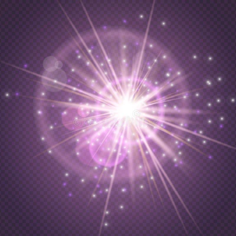 Gnistor blänker att glöda, glöd för stjärnabristningsexplosion och linssignalljuset som isoleras på purpurfärgad genomskinlig bak stock illustrationer