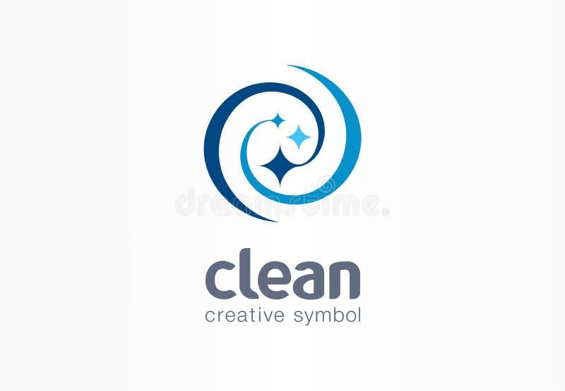 Gnistrandestjärna, idérikt symbolbegrepp för nytt leende Tvätta sig, virvla runt, tvätterit, logo för affär för lokalvårdföretag  vektor illustrationer