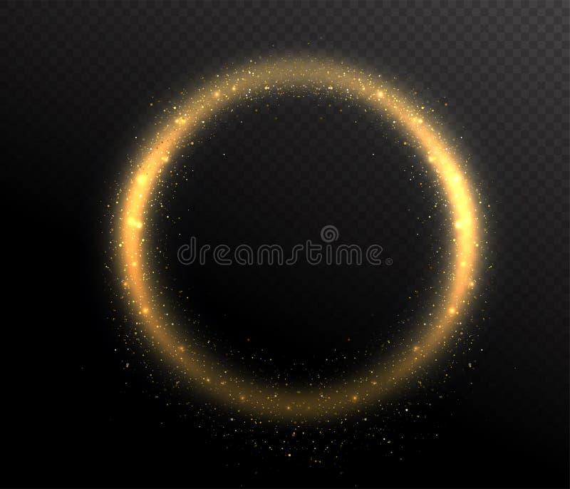 Gnistrandet blänker ramen för rund form för cirkeln Glöddamm i luften stock illustrationer