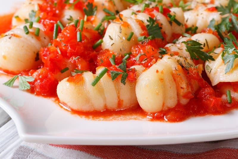 Gnocchi avec la sauce tomate et les herbes fraîches macro photo stock