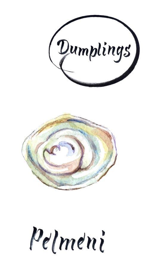 Gnocchi casalinghi della carne - pelmeni russo, illustrazione dell'acquerello, illustrazione di vettore illustrazione vettoriale
