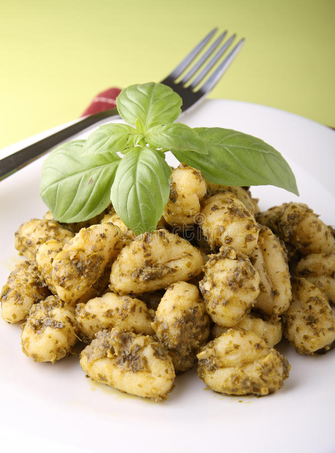 Download Gnocchi and pesto sauce stock image. Image of pesto, restaurant - 22475855