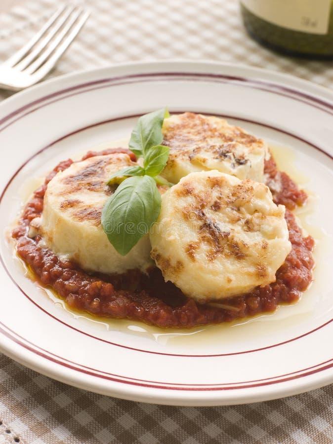 Gnocchi Romana with Tomato Sauce stock image