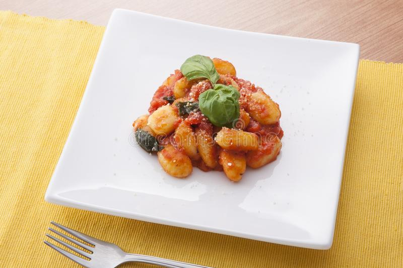 Gnocchi with tomato sauce royalty free stock images