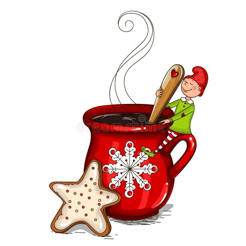 Gnom auf einem Tasse Kaffee lizenzfreie abbildung