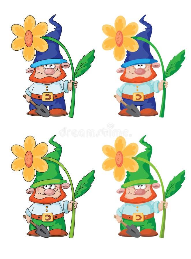Download Gnom i kwiat ilustracja wektor. Obraz złożonej z fantazja - 27370643