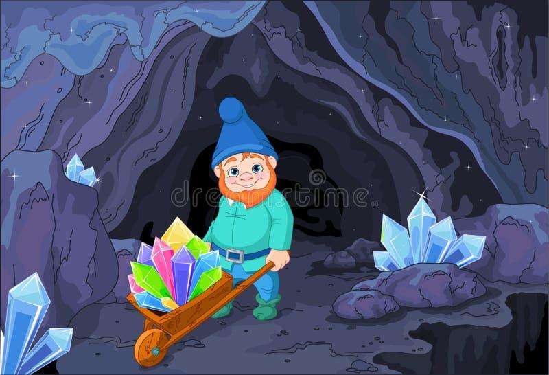 Gnome avec des cristaux de quartz illustration de vecteur