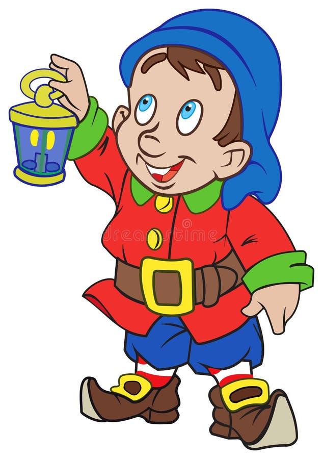 Gnome avec une lanterne illustration stock