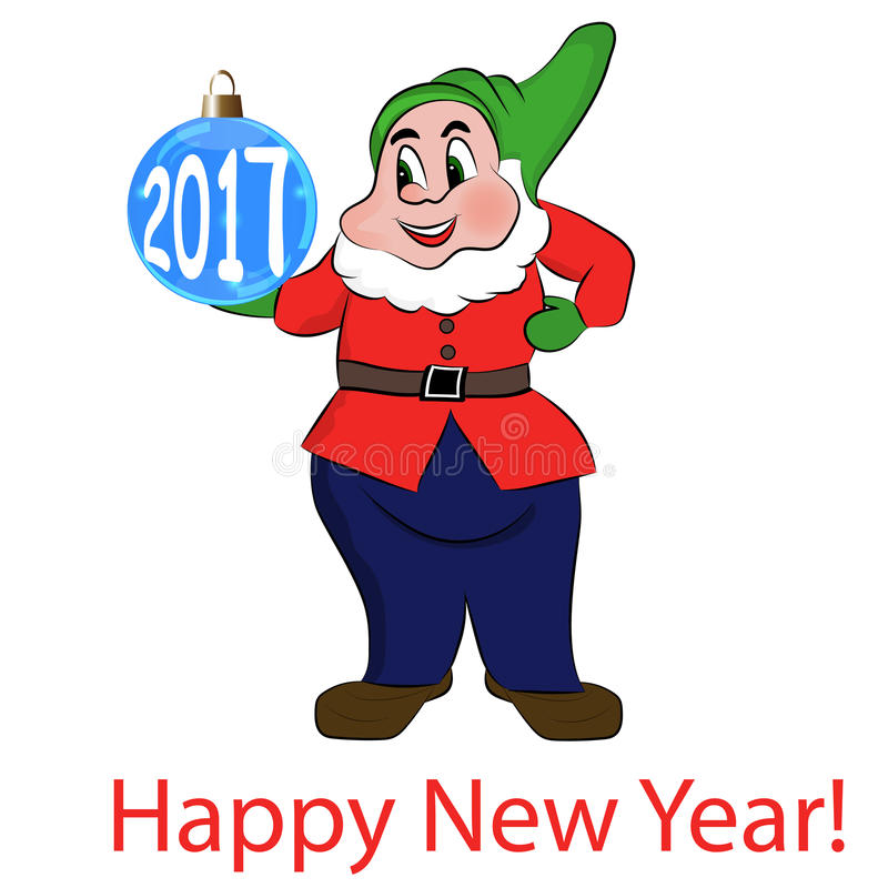 Gnome with blue balls. Happy New Year 2017. Vector royalty free illustration