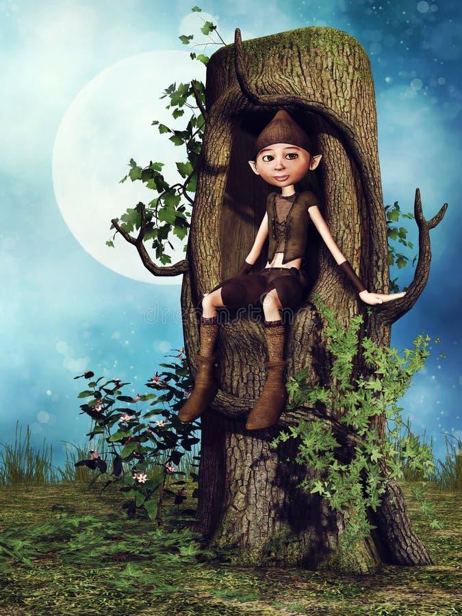 Gnome d'imagination se reposant dans un arbre illustration stock