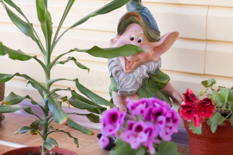 Gnome dans la cour de la maison photos libres de droits