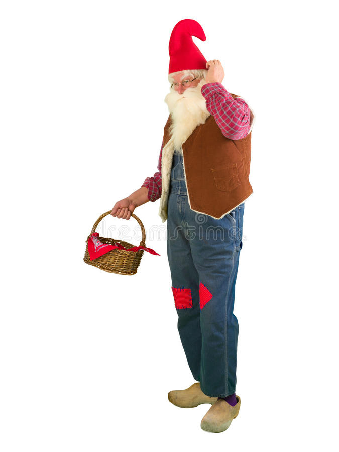 Gnome de jardin avec le mini panier photo stock
