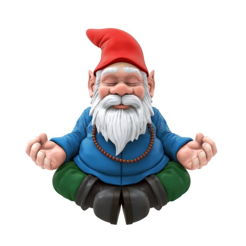 Gnome de jardin méditant illustration de vecteur