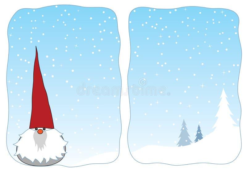 Gnome de l'hiver dans un hublot neigeux illustration stock