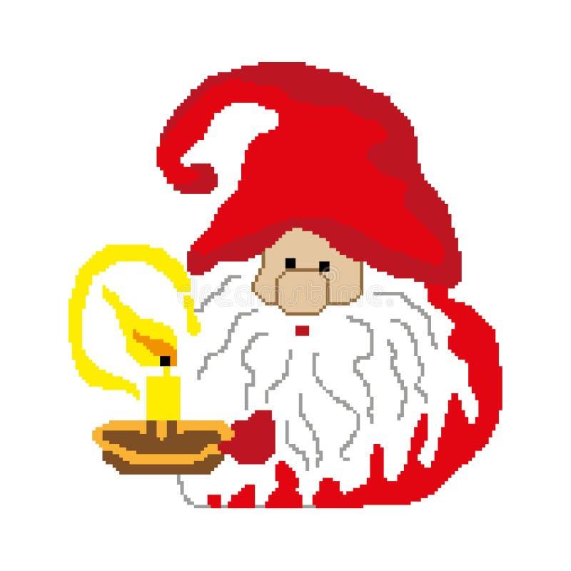 Gnome de Santa avec une bougie peinte dans les places, pixels Bonne année de carte de voeux Illustration de vecteur illustration stock