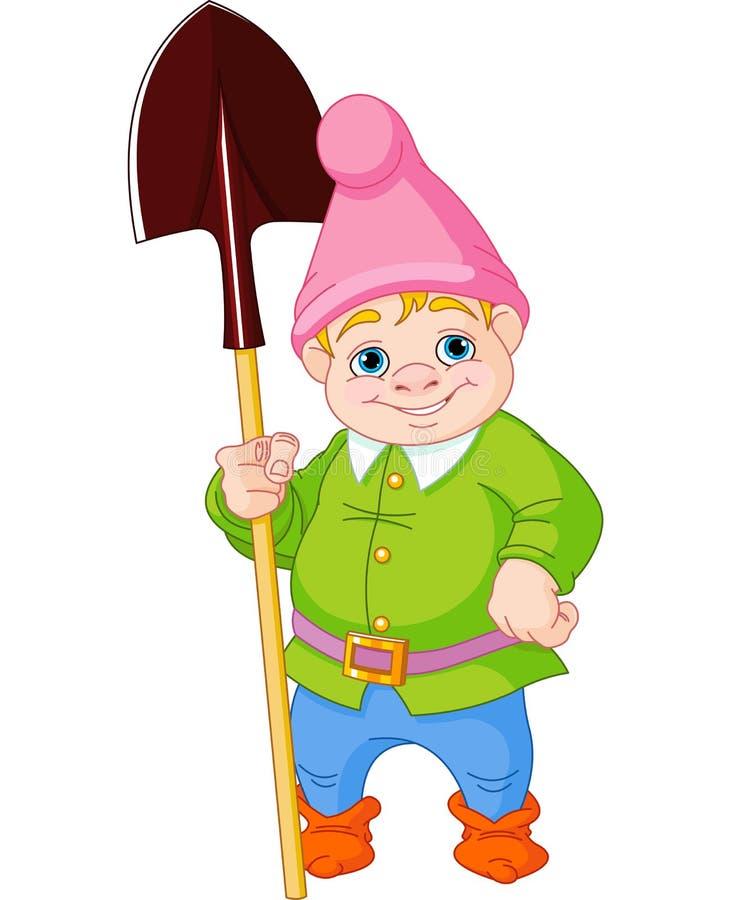 Gnome do jardim com pá ilustração do vetor
