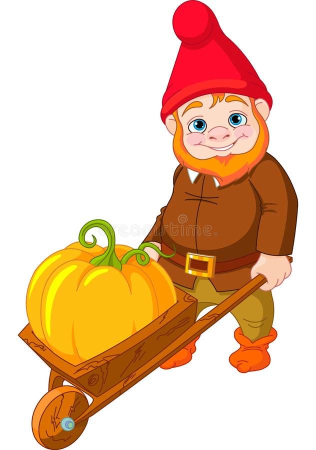 Gnome do jardim com wheelbarrow ilustração do vetor