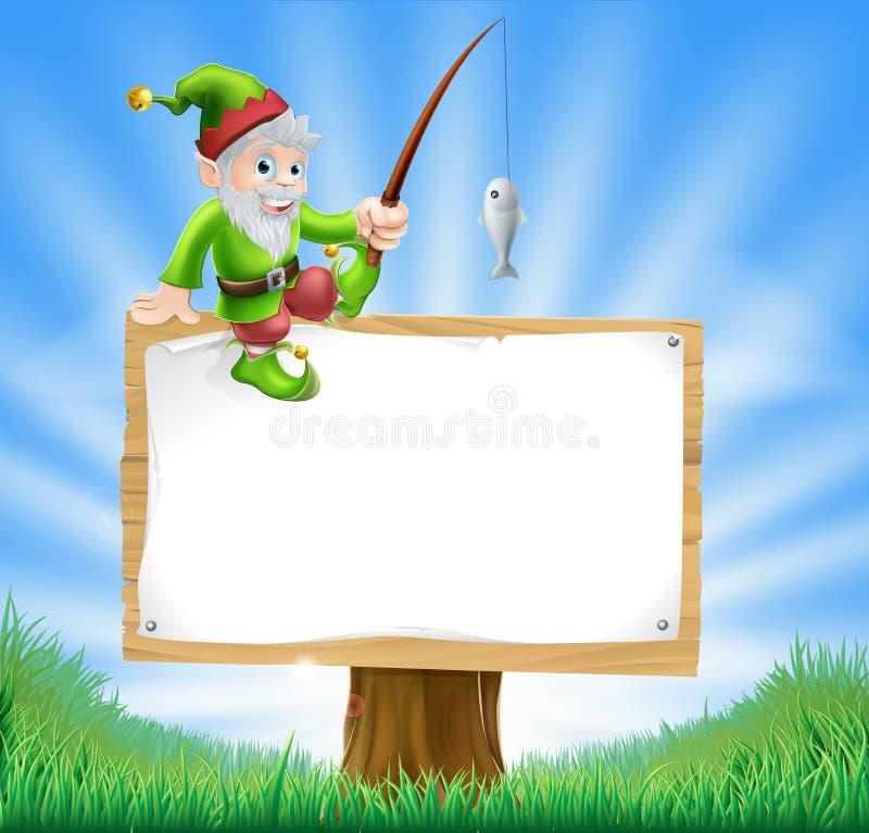 Gnome do jardim ou sinal do duende ilustração do vetor