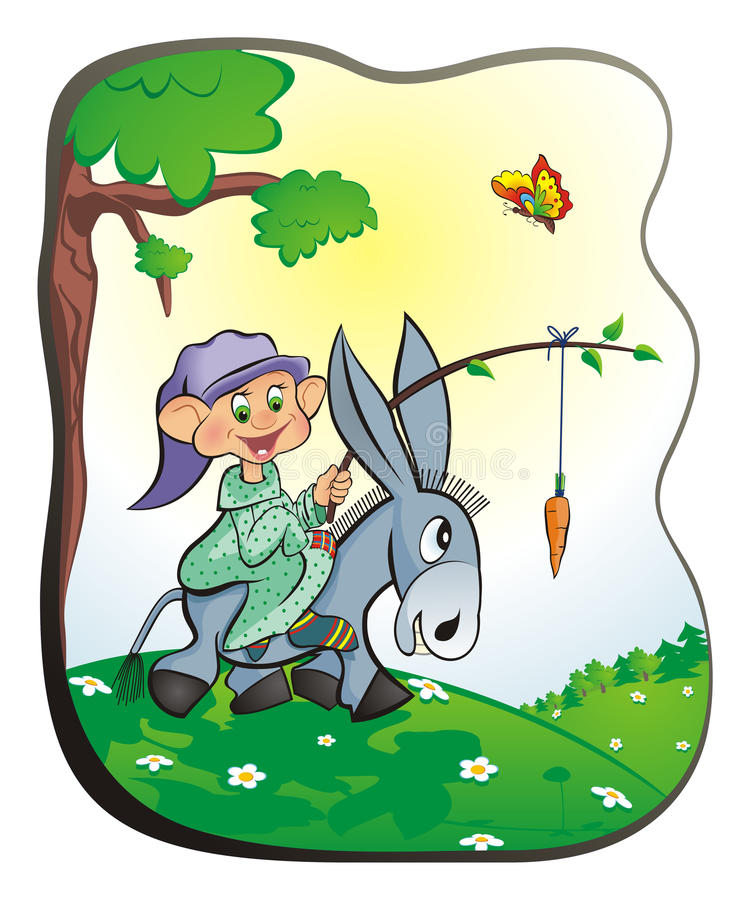 Gnome on a donkey stock image