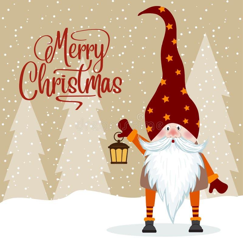 Gnome and his lantern. Christmas card. Flat design vector illustration