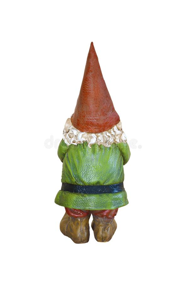 Free Gnome In Green Suit And Red Pointed Hat In Back Side View Stock Photography - 104938332