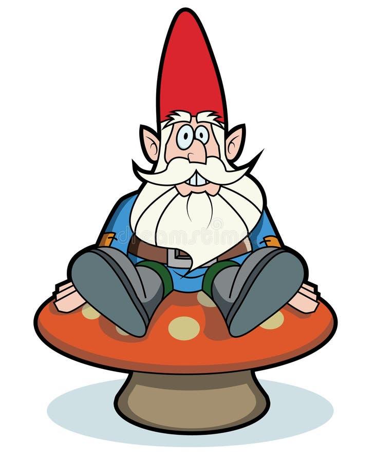 Gnome Clip Art: Gnome Sitting On Mushroom Stock Illustration