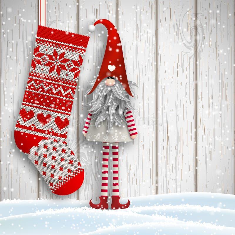 Gnome traditionnel de Noël scandinave, Tomte, avec le bas tricoté, illustration illustration stock