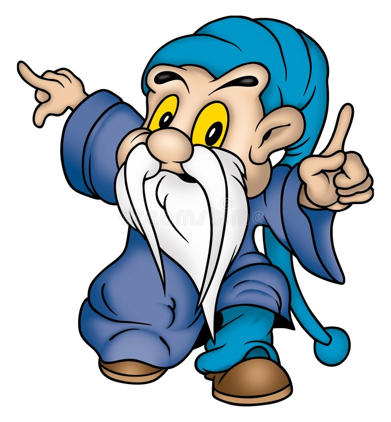 Gnome u. blaue Kleidung lizenzfreie abbildung
