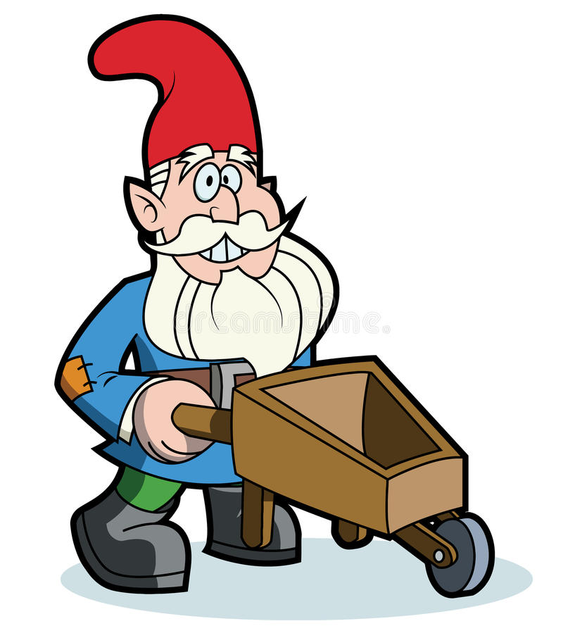 Gnome and wheelbarrow royalty free illustration