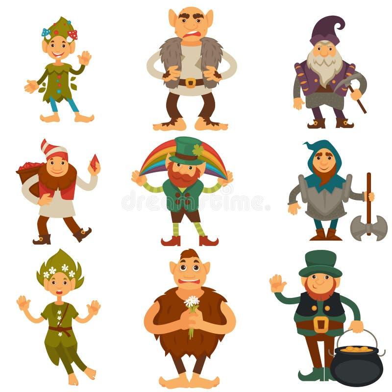 Gnomen, Zwerge oder Elfe und magischer Charaktervektor der Koboldkarikatur lokalisierten Ikonen lizenzfreie abbildung