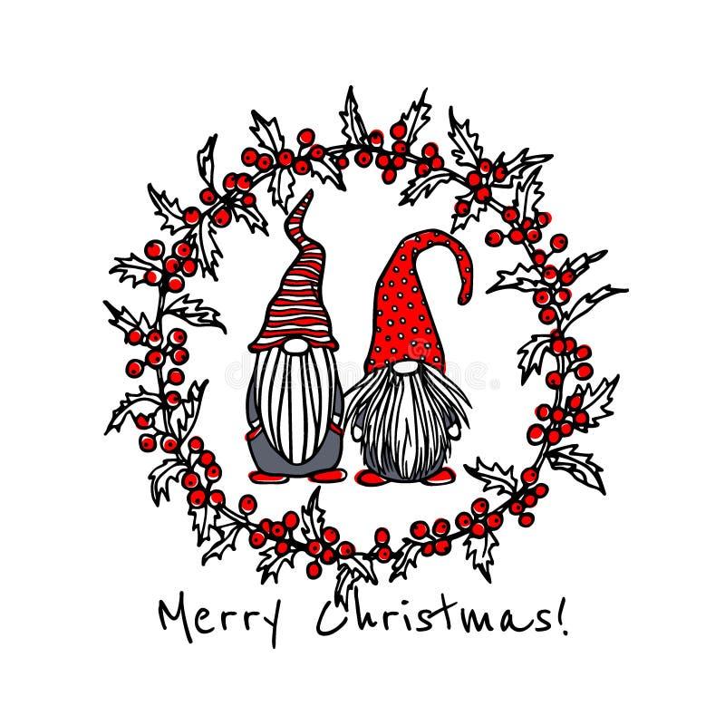 Gnomi disegnati a mano di Natale illustrazione vettoriale