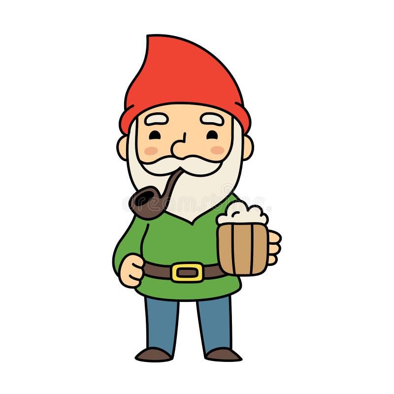 Gnomo bonito dos desenhos animados com cerveja ilustração do vetor