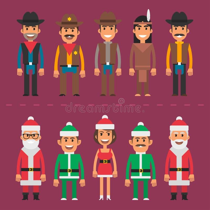 Gnomo de Papai Noel do xerife do vaqueiro dos povos do grupo ilustração stock