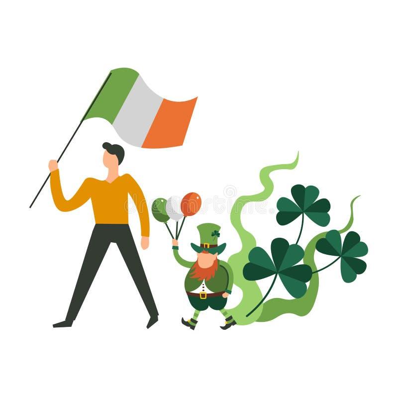 : Gnomo di parata, dell'uomo e del leprechaun di giorno di San Patrizio che marcia uff royalty illustrazione gratis