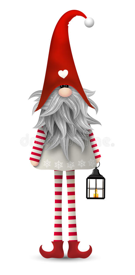 Gnomo escandinavo tradicional do Natal, Tomte, ilustração