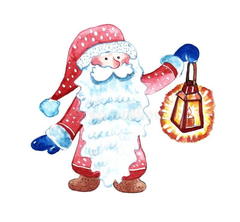 Gnomo pintado à mão do Natal da aquarela no chapéu e no terno vermelhos, com barba branca caráter mágico dos desenhos animados, i ilustração stock