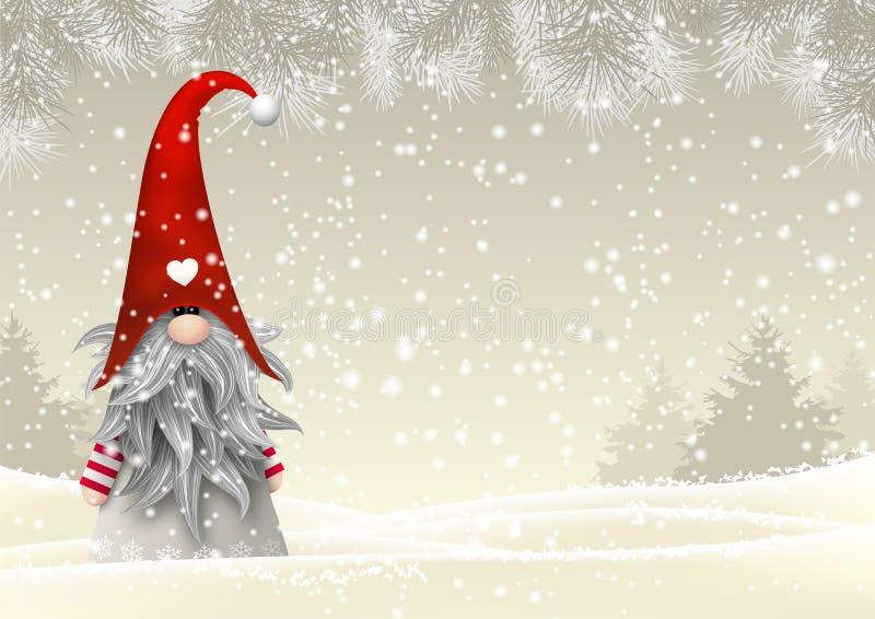 Gnomo tradicional de la Navidad escandinava, Tomte, ejemplo stock de ilustración