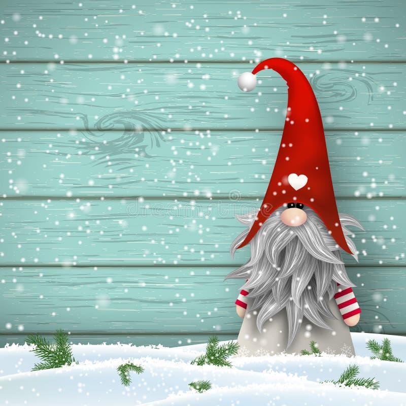 Gnomo tradizionale di natale scandinavo, Tomte, illustrazione illustrazione di stock